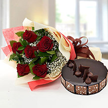 Elegant Rose Bouquet With Chocolate Cake BH: Send Gifts to Bahrain