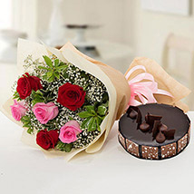 Beautiful Roses Bouquet With Chocolate Cake EG: Egypt Gift Delivery