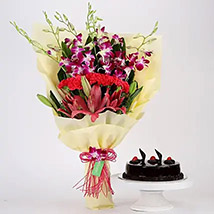 Pink and Purple Flowers and Truffle Cake Combo: Gift Delivery to India