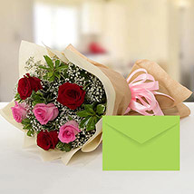 Attractive Roses Bouquet With Greeting Card KT: Gifts