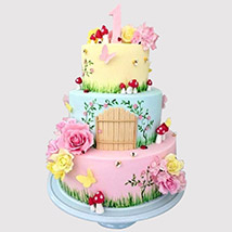 3 Tier Magical Land Cake: Tinkerbell Birthday Cakes