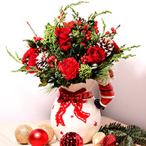 All Red Xmas Vase Arrangement: Christmas Gifts
