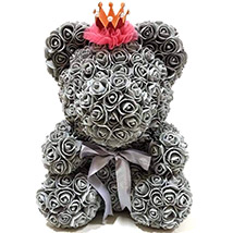 Artificial Grey Roses Teddy With Crown: