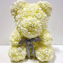 Artificial Milky White Roses Teddy: Rose Teddy Bears