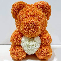 Artificial Orange and White Roses Teddy: Unique Gifts