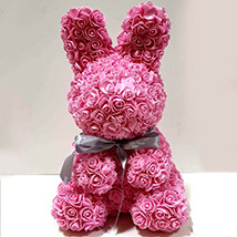 Artificial Roses Pink Rabbit Toy: Rose Teddy Bears