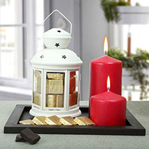 Assorted Chocolates and Red Candles Combo: Diwali Candles