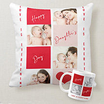 Baby Daughter Personalised Cushion and Mug: Daughters Day Gifts