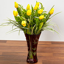 Bright Yellow Tulips In Maroon Vase: Congratulations Flower Bouquet