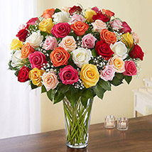 Bunch of 50 Assorted Roses In Glass Vase: Congratulations Flowers