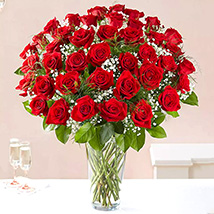 Bunch of 50 Scarlet Red Roses: Flower Arrangements