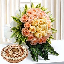 Bunch Of Roses and Dry Fruits Combo: Anniversary Flowers & Dry Fruits