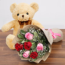 Charming Roses and Teddy Combo: Soft Toys