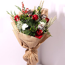 Elegant Jute Wrapped Flowers: Christmas Gifts for Him