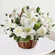 Elegant White Floral Basket: Sympathy Flowers and Funeral Flowers