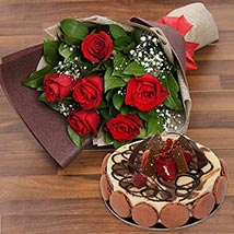 Enchanting Rose Bouquet With Marble Cake: Karwa Chauth Gifts