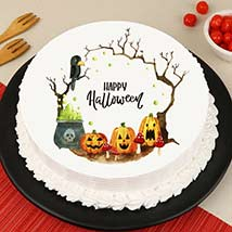Evil Pumpkin Photo Cake: Halloween Themed Cakes
