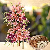 Exotic Flowers Arrangement and Dry Fruits Combo: Flowers & Dry Fruits