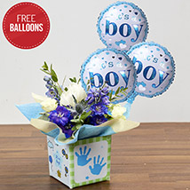 Glass Vase Arrangement with Free Balloons: