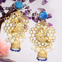 Gold Toned Peacock Shaped Jhumkas: Jewellery