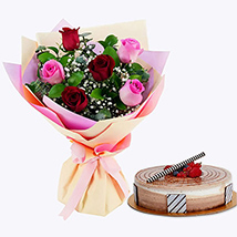 Gorgeous Roses Bouquet With Triple Chocolate Cake: Christmas Gifts