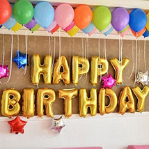 Happy Birthday Colourful Balloon Decor: Balloon Decorations