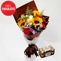 Happy Flower Bouquet and Free Chocolates: Gifts on Sale