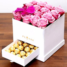 Hues Of Purple and Chocolates: Anniversary Flowers and Chocolates