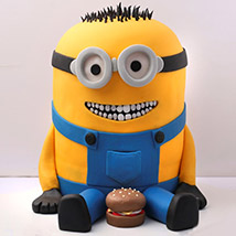 Lovable Minion With A Burger Cake 3 Kg: 3D Cakes Dubai