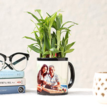 Lucky Bamboo In Personalised Black Mug: Personalised Gifts for Father