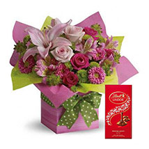 Mixed Flowers Arrangement and Lindt Chocolate Combo: Chocolates Delivery with in One Hour