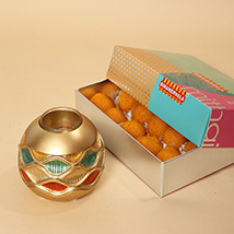 Motichoor Laddoo and Golden Diya Combo: Diwali Gifts 2019