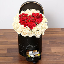 Peach and Red Rose Box With Patchi Chocolates:  Anniversary Gift For Husband