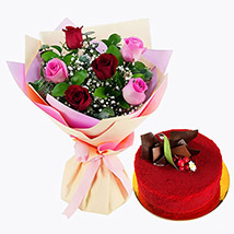Pink and Red Roses with Red Velvet Cake: Cake and Flower Delivery in Dubai