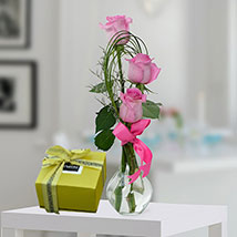 Pink Roses and Patchi Chocolate Combo: Anniversary Flowers & Chocolates