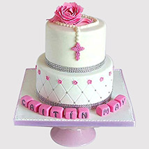 Pretty Pink Floral Christening Cake: Christening Cakes for Boys/Girls