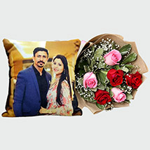 Pretty Roses with Personalised Cushion: Personalized Gifts for Her