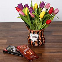 Quaint Mixed Tulips Basket and Chocolates: Flowers and Chocolate Delivery