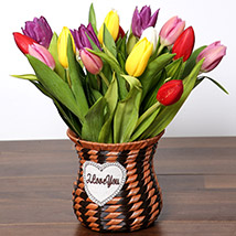 Quaint Mixed Tulips Basket: Tulips Flowers