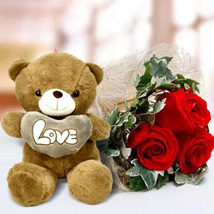 Red Roses and White Teddy Combo: Anniversary Flowers and Teddy Bears