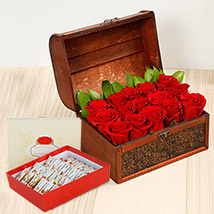 Red Roses Treasured Box With Kaju Roll: Flowers & Sweets