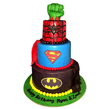 Superheroes Revisited Cake: 1 year birthday cake