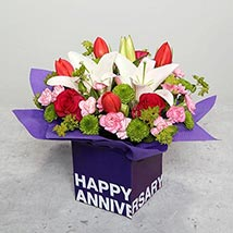 Tulips Roses and Carnations in Glass Vase: Wedding Anniversary Gift For Wife