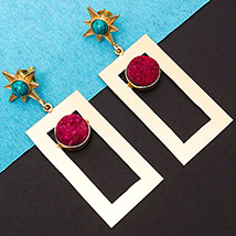 Turquoise Stones Studded Earrings: Artificial Jewellery