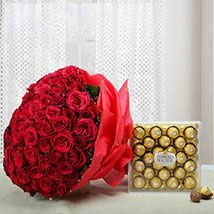 Attractive Combo of Love: Anniversary Flowers and Chocolates