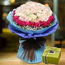 Splendid Roses Bouquet and Patchi Chocolate Combo: Anniversary Flowers & Chocolates
