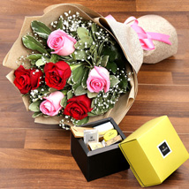 Mixed Roses Bouquet and Patchi Chocolate Combo: Chocolates in Abu Dhabi