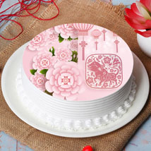 New Year Wishes With Blossoms Cake: Chinese New Year Gifts