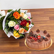 Dozen Multi Roses with Fudge Cake: Wedding Gifts