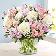 Pink and White Floral Bunch In Glass Vase: Birthday Gifts to Al Ain
